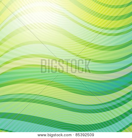 Vector design pattern. Green yellow wave abstract light background