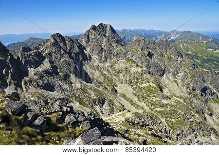 The view from the trail on Swinica peack and High Tatras