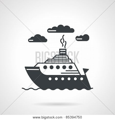 Sea ship black vector icon