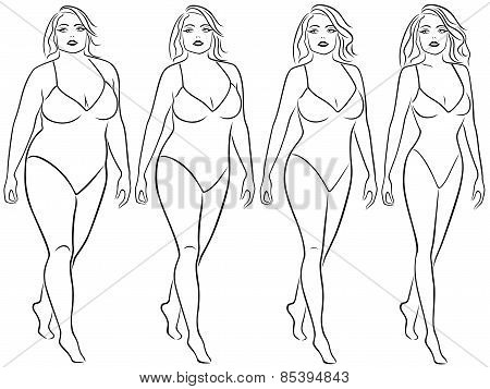 Four Woman Outlines