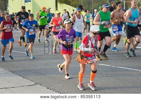 Unidentified Senior Woman Runner Participating In The 30Th La Marathon Edition