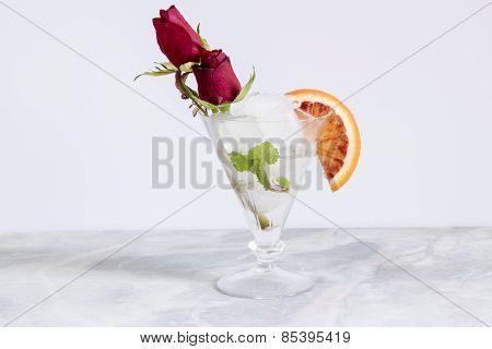 alcoholic drink , glass with ice and rum
