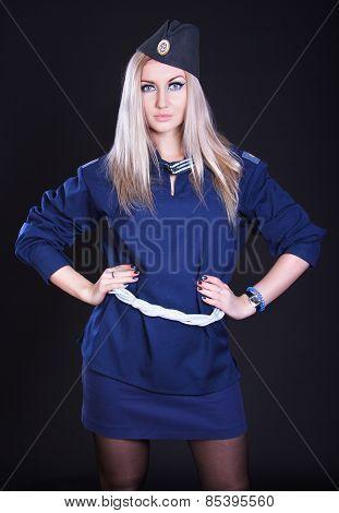 Woman In A Blue Marine Uniform