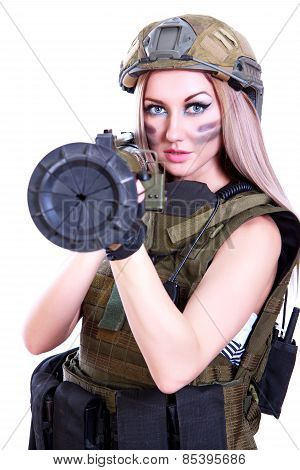 Woman In A Military Camouflage With A Bazooka