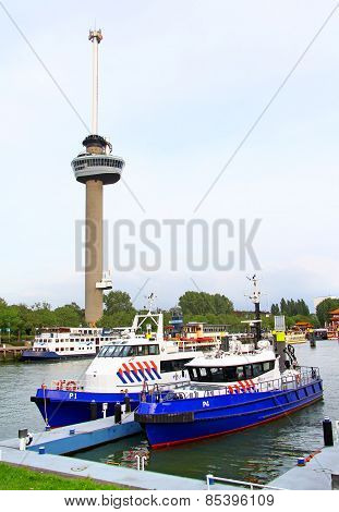 Euromast And Police Boats In Rotterdam, The Netherlands