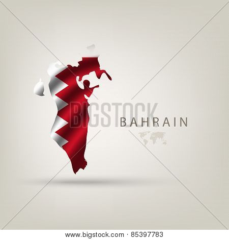 Flag of BAHRAIN as a country with a shadow