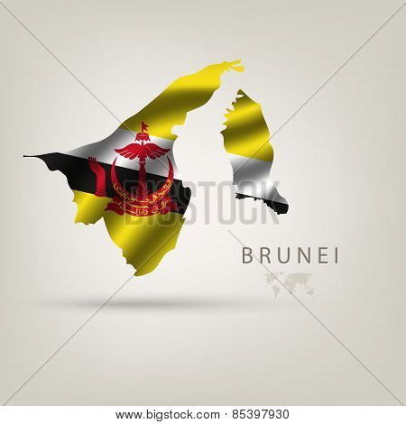 Flag of BRUNEI as a country with a shadow