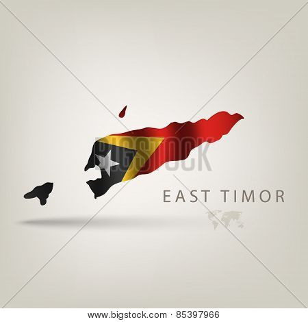 Flag of EAST TIMOR as a country with a shadow
