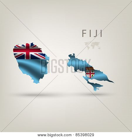 Flag of FIJI as a country with a shadow