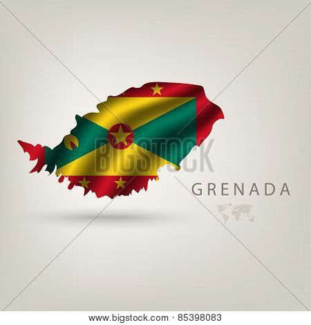 Flag of GRENADA as a country with a shadow