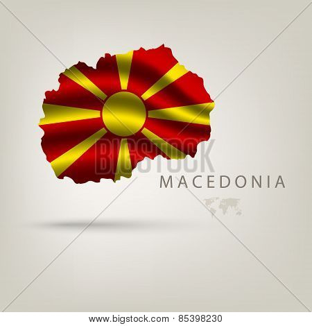 Flag of MACEDONIA as a country with a shadow