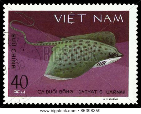 Vintage  Postage Stamp. Dasyatis Uarnak.