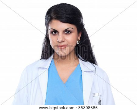 Doctor woman with stethoscope standing near wall