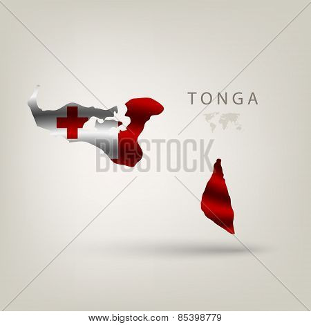 Flag of TONGA as a country with a shadow