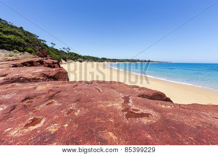 Red Rocks Beach On Sunny Day, Phillip Island, Australia