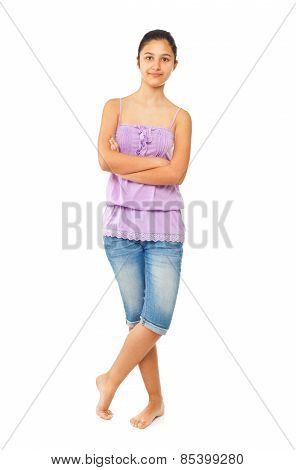 Teen Girl With Blue Jeans And Tank Top