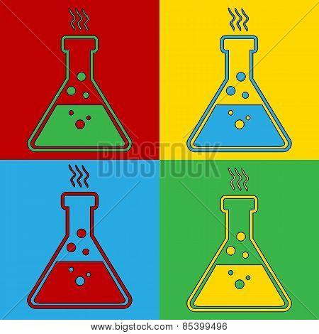 Pop Art Laboratory Glass Symbol Icons.