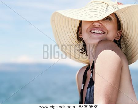 Brunette on the beach portrait