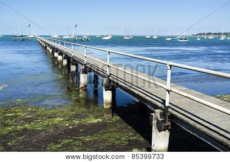 Old Wooden Pier Geelong Australia. Sunny Summer Afternoon.