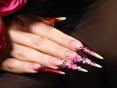 foto of nail-design  - Female hand with floral art design nails  - JPG