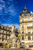 stock photo of comedy  - Fontaine des Trois Graces on place de la Comedie in Montpellier France - JPG