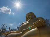 picture of gautama buddha  - Gautama Buddha or Katyayana or Kasennen with sun ray in the background - JPG