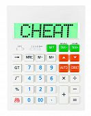 stock photo of cheating  - Calculator with CHEAT on display isolated on white background - JPG
