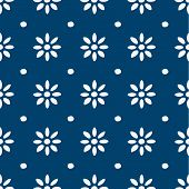 image of indigo  - Hand drawn seamless blue and white indigo pattern - JPG