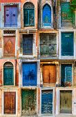 stock photo of door  - Collage of colourful front doors to houses and homes - JPG
