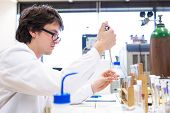 picture of scientific research  - Male researcher carrying out scientific research in a lab  - JPG
