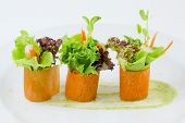 stock photo of plate fish food  - Closeup Finger food carrot salad roll on white plate - JPG