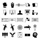 stock photo of offside  - Soccer icons set on white background vector illustration - JPG