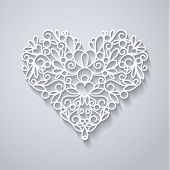 image of swirly  - Swirly paper heart with shadow on white - JPG