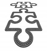 pic of merge  - Road connection concept as two puzzle pieces merging together as a network transportation symbol and business icon for economic development as two asphalt highways shaped as a jigsaw pieces - JPG