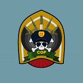 image of special forces  - Military Emblem with a skull and the weapon - JPG