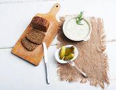 stock photo of collate  - Studio shot of lard with cracklings garlic and apple - JPG