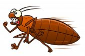 picture of scared  - Scared cartoon bedbug running away - JPG
