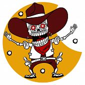 pic of skeleton  - Wild West a skeleton dressed as a cowboy pistol shooting traces of bullets - JPG