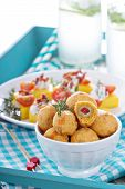 pic of olive shaped  - Italian Appetizer Olives baked in cheddar dough - JPG