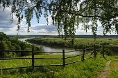 stock photo of birching  - Rural country summer landscape with river, field, forest, old wood hedge, with view through overhanging birch branches in cloudy sunny day
