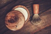 picture of shaving  - Shaving brush and soap on a luxury wooden background  - JPG