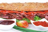 picture of french curves  - french sandwich on white plate - JPG
