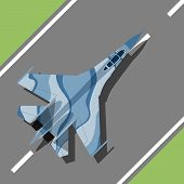 stock photo of fighter plane  - picture of a war plane standing on landing strip flat style illustration - JPG