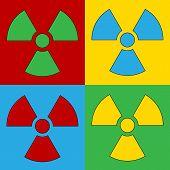 foto of nuke  - Pop art radiation sign symbol icons - JPG