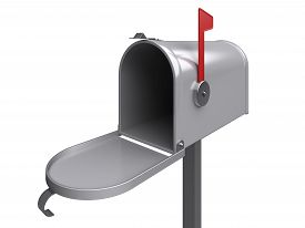 pic of mailbox  - Open mailbox on a white - JPG