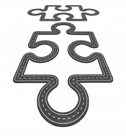 stock photo of merge  - Road connection concept as two puzzle pieces merging together as a network transportation symbol and business icon for economic development as two asphalt highways shaped as a jigsaw pieces - JPG
