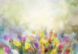 picture of canvas  - Watercolor flowers painting - JPG
