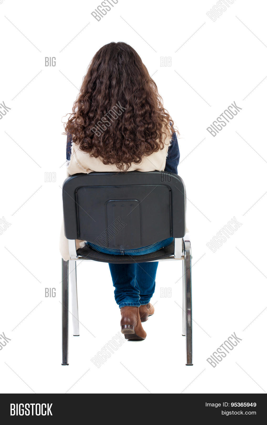 back view of young beautiful woman sitting on chair. girl ...