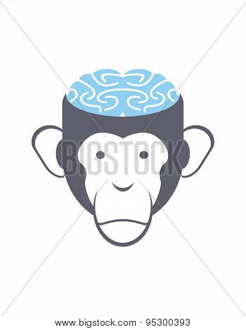 Monkey brain Blue. Animal Head vector illustration. Logo for Research Institute.