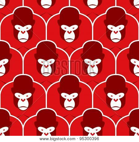 Gorilla seamless pattern. Flock of Angry red big monkey. Background of Group of animals. Beasts vect